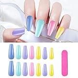 100 Pcs Long Acrylic Coffin Press On Nails, Solid Color Full Cover False Nail Art Tips, Ballerina UV Fake Nails With...