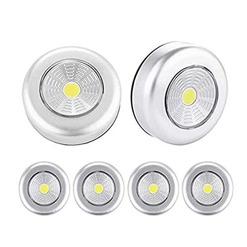 Luz nocturna LED, 6 unidades, funciona con pilas, iluminación nocturna para armario, mostrador, ático, cobertizo, cuarto de almacenamiento, habitación de los niños, pasillo, guarderías