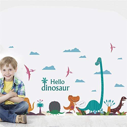 Hello Dinosaure Stickers muraux pour chambre d'enfant Chambre d'étude Accessoires de salle de dessin animé Animaux Posters Papier Peint Mural Décoration de Maison