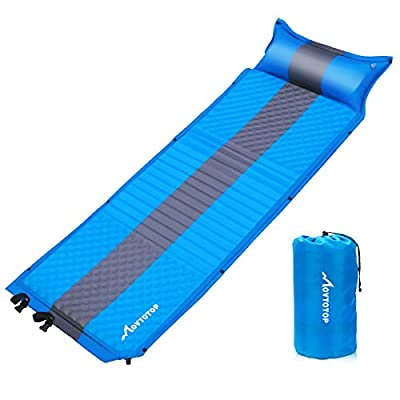 MOVTOTOP Sleeping Pad for Camping, Foam Self-Inflating Ultralight Thicken Sleeping Mat with Attached Pillow, Perfect Gear for Hiking, Traveling and Backpacking (Self-Inflating)