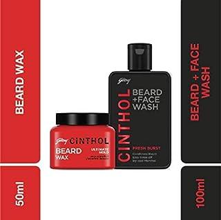 Cinthol Fresh Burst Beard Wash, 100ml with Beard Wax, 50g