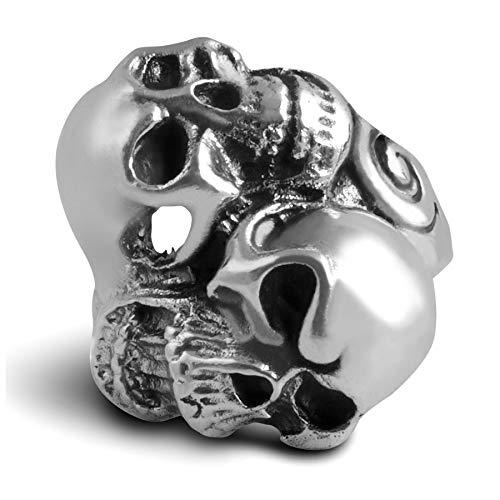 RuffRebel Biker Schedel Scream massief 925 sterling zilver gestempeld Ø 22,3 70 mm Biker doodskop ring
