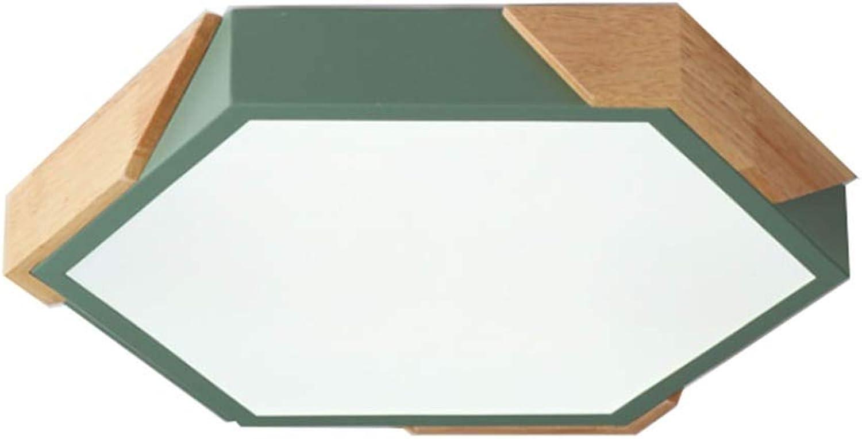 Eisen Holz Wohnzimmer Deckenleuchte Macaron Farbe Ultradünne LED Runde Schlafzimmerlampe (Farbe   Grün24-Doppelt)
