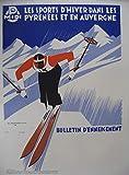 Ski Pyrenäen Auvergne Kunstdruck Poster / Format 50 x 70