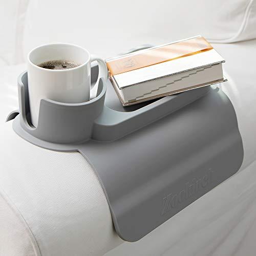 Zookineh Silikon-Getränkehalter für Sessel, Couch, Caddy, Sofa, Liegestuhl, rutschfeste Armlehne, Fernbedienung und Handy-Organizer (3. Grau)