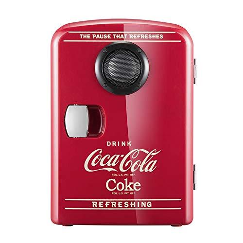 2in1 Mini Kühlschrank, Cocá-Colá Bluetooth-Lautsprecher Auto Nach Hause Kühlschrank, AC + DC Power Kompatibilität Schlafsaal Student Kosmetik Warm Und Warm Box Geschenk 4L (A)