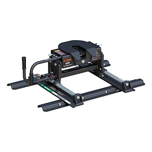 CURT 16616 E16 5th Wheel Slider Hitch with Base Rails for Short Bed Trucks, 16,000 lbs