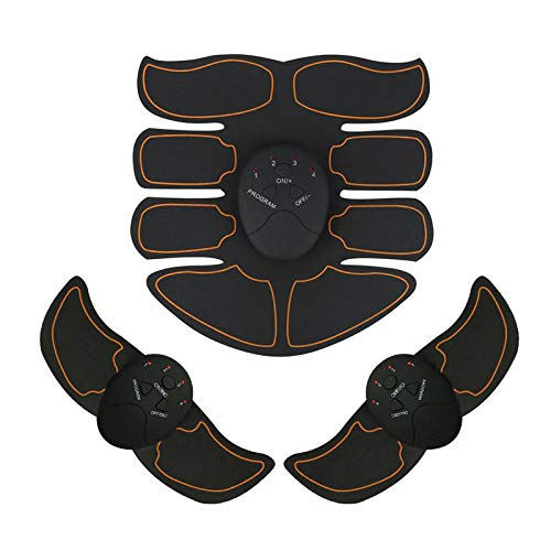 Elettrostimolatore Muscolare, Trainer EMS per Addome Gambe Braccio Vita Portatile Senza Fili Home Gym Training Gear per Uomini Donne Massaggi Attrezzi Nero