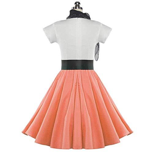 DressLily Retro Poodle Print High Waist Skater Vintage Rockabilly Swing Tee Cocktail Dress (Large, Orangepink)