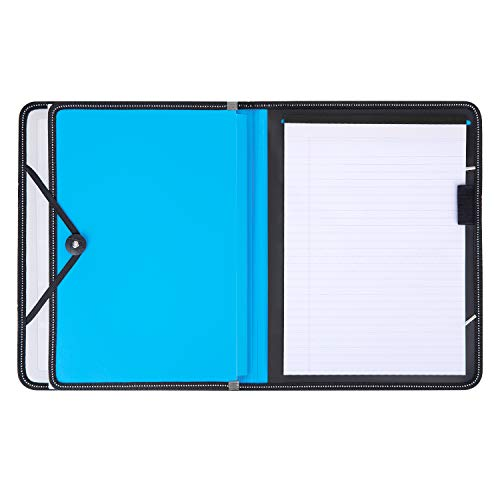 File Folders, Deli Expanding File Folders, Multi-Functional Accordion Folders with 30 Sheets A4 Notepad & Pen Holder, A4 Letter Size File Organizer for Bill, Cards, Receipt, Tax Item, 7-Pocket (Blue)