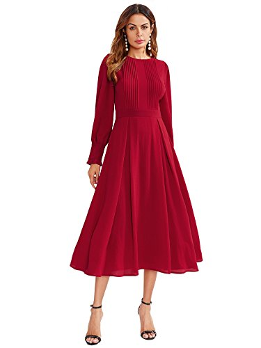 DIDK Damen Plissee Kleider Rundhals A Linie Faltenkleid Elegant Langarm Midi Kleid mit Reißverschluss Rot S