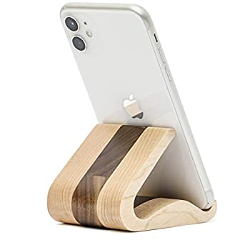 Wooden Cell Phone Stand MTWhirldy Stands for iPhone Universal Compatible with iPhone 11 Pro Max XS XR 8 Plus 7 Samsung Galaxy S20 S9 8 LG Moto Smartphone Facetime Holder for Desk  Maple and Walnut