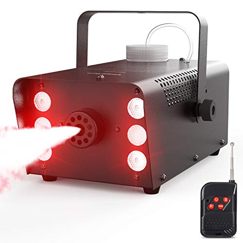 Theefun Upgraded 500W Halloween Fog Machine with Lights - 6 Stage LED Lights with 7 Colors & Strobe Effect for Party Wedding Holiday, Portable Wireless Remote Control Smoke Machine