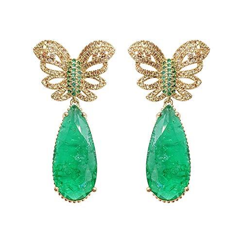 BAJIE Earring Fashion Light Green Broken Cz Golden Butterfly Drop Earring For Women Wedding