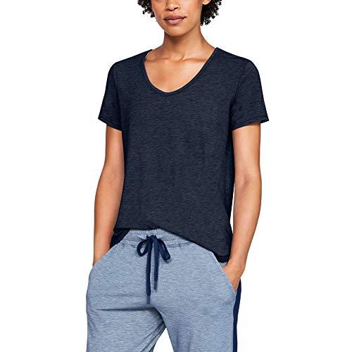 Under Armour Women's Athlete Recovery Sleepwear Short Sleeve Shirt , Academy Blue Fade Heather (408)/Tonal , Medium