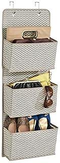 SKYFUN (LABEL) Fabric 3-Layer Pocket Wall Door Cloth Wardrobe Hanging Storage Bags Box-Grey
