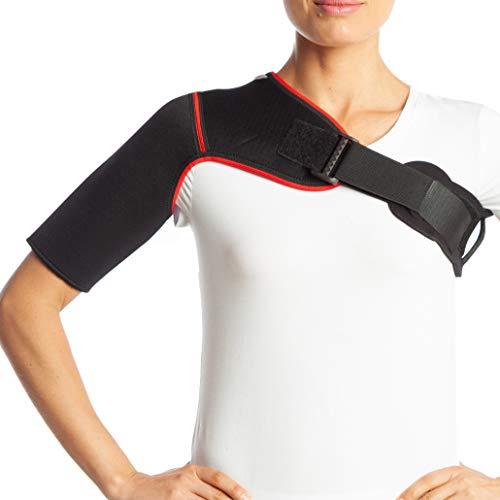 Schoudersteun van neopreen, rugstabilisator, artritis-riem, ondersteuning bij uitgebalanceerde schouders, helpt tegen pijn in de lumbale wervelkolom, geschikt voor sporten, zwart Small zwart