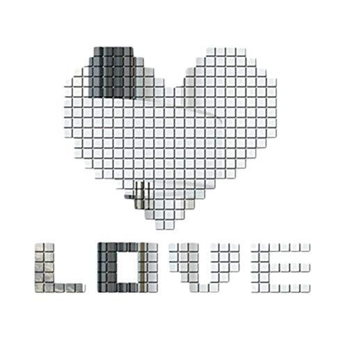 Leileixiao 500 pegatinas de pared para azulejos de espejo, 3D, modernas pegatinas de mosaico para decoración de la habitación del hogar, 5 x 5 cm (color: plata)