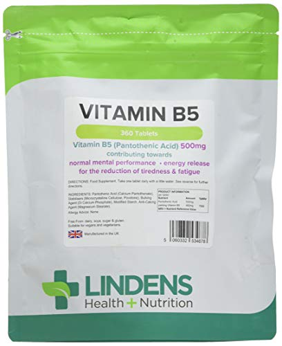 Lindens Vitamin B5 500mg Tablets | 360 Pack | 7666% Nrv Dose Contributes Towards Mental Performance, Normal Metabolism & Reduction of Tiredness