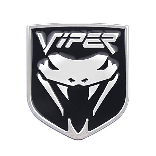 Cola 3D del cromo del metal de la cobra Escudo de la insignia del emblema del coche guardabarros del lado del cuerpo etiqueta (Color Name : Black Silver)