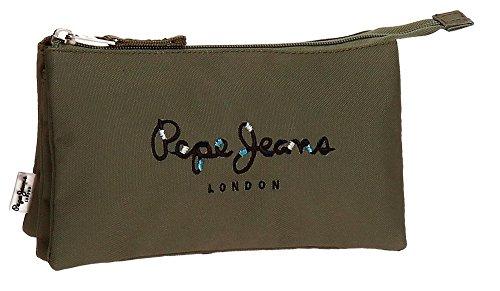 Estuche de tela Logo bordado con detalle de costuras de colores Cierre con cremallera Triple compartimento