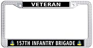 Toanovelty 157th Infantry Brigade Veteran Glitter rhinestonesCar License Plate Holder, Waterproof Car Plate Frame with Crystal Screw Caps, Rhinestones License Plate Frame 6' x 12' in(White)