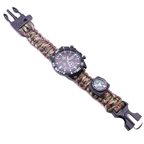 ZJJ Reloj de la Pulsera de Supervivencia Impermeable al Aire Libre Reloj de Salvamento Multifuncional con compás Magnesio Rod Braded Rope silbate para Caminar Camping,Camuflaje
