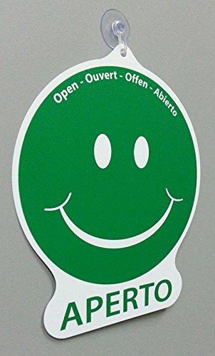 Cartello TORNO SUBITO APERTO emoticon per negozio vetrina studio laboratorio officina