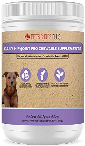 Pet s Choice Plus Hip and Joint Supplement for Dogs Maximum Strength Natural Pain Relief and product image