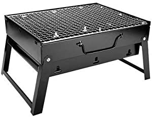 """ColourTree Portable Folding Simple Barbecue BBQ Charcoal Grill Black - Lightweight, Foldable - for Camping, Picnic, Outdoor - 17"""" x 12'' x 9"""" (Medium)"""