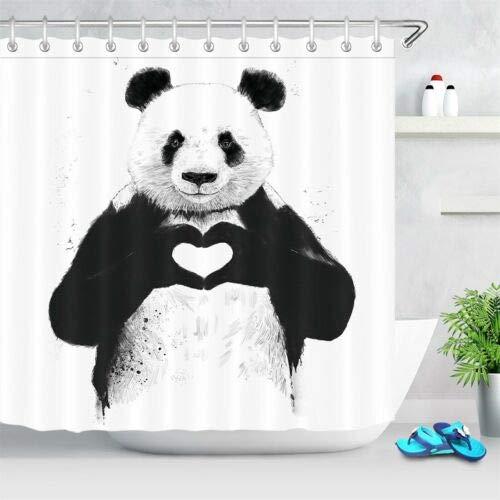 Netter lächelnder Panda Duschvorhang für Badezimmer,wasserdichtes & schnelltrocknendes Polyester,hochauflösendes Muster,12Haken,183x183cm