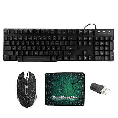 Keyboard and Mouse, T6 RGB Backlit Mechanical Gaming Keyboard Mouse Set for PC Laptop, USB Gaming Keyboard Gaming Mice with Mouse Pad, Compatible with Windows XP/Vista 7/8/10/ OSX