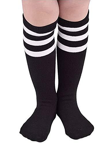 Century Star Kids Child Sport Soccer Socks Knee High Tube Socks Three Stripes Cotton Cute Stocking for Boys Girls 1 Pair Black White One Size