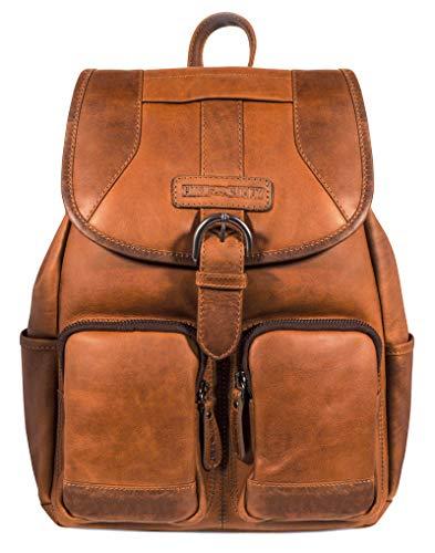 Hill Burry Leder Rucksack | aus weichem hochwertigem Rindsleder - Vintage Cityrucksack | Collegerucksack - Outdoorrucksack Bag Beutel - Lederrucksack (Braun)