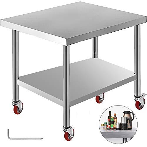 VEVOR Tavolo da Lavoro in Acciaio Inox Piano di Lavoro per Cucina 76x91x86cm Piano di Lavoro Professionale a 4 Ruote per La Preparazione di Alimenti
