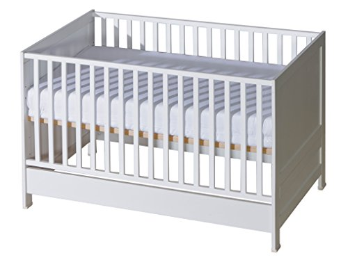 Belivin® 3in1 Beistellbett, Babybett, Gitterbett 140x70cm weiß | umbaubar zum Juniorbett Jugendbett inkl. Matratze | mitwachsendes multifunktionelles Baby Bett Kinderbett | besonders stabil durch Buche Massivholz