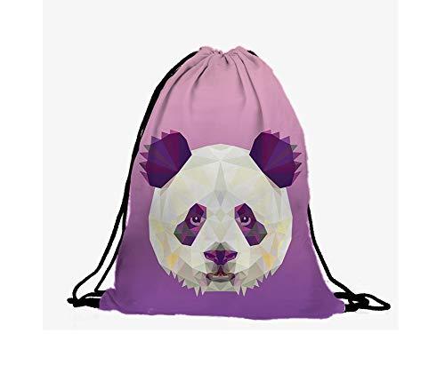 Hanessa Jutebeutel - Low-Poly Panda-Gesicht violett - mit lustigem Spruch Aufdruck Sportbeutel lustige Sprüche Tüte Rucksack Beutel Tasche Gym Bag Hipster Fashion Sport-Tasche Einkaufs-Tasche RU-313