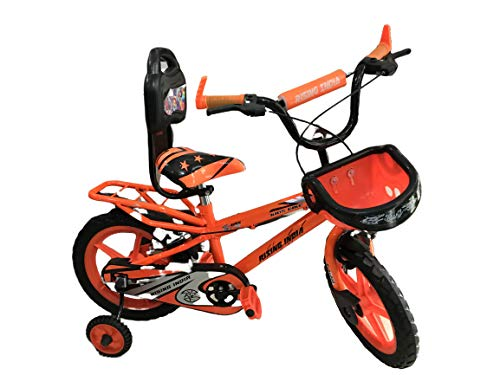 "Rising India 14"" Sports Kids Bicycle for 3-5 Years with Full Chain Cover and Bottle Semi Assembled (Neon Orange with Carrier)"
