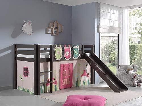 Spielbett inkl. Rutsche mit Textilset Vorhang & 3 Taschen Spring , Kiefer Massiv Taupe
