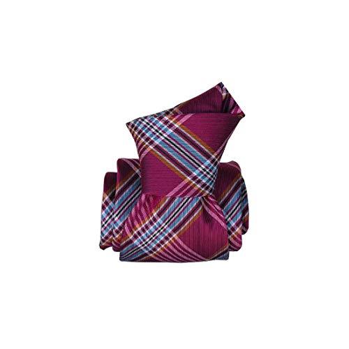 Segni et Disegni. Cravate classique. manchester, Soie. Rose, carreaux. Fabriqué en Italie.