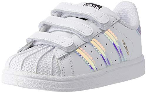 adidas Superstar CF I, Scarpe Primi Passi Unisex – Bimbi 0-24, Bianco (Ftwr White/Ftwr White/Metallic Silver-SLD), 21 EU
