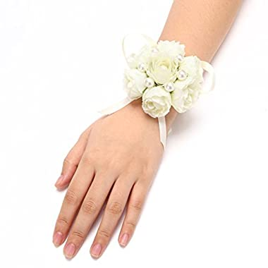 FAYBOX Girl Bridesmaid Wedding Wrist Corsage Party Prom Hand Flower Decor Pack of 2 Ivory