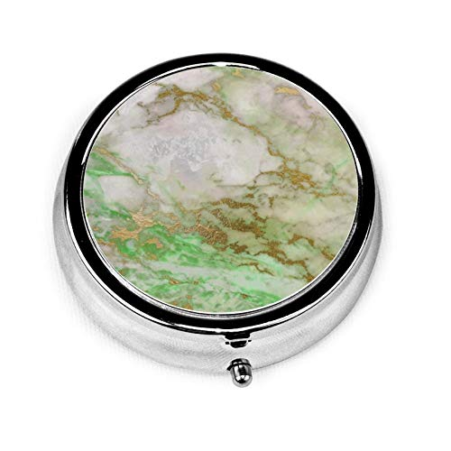 White Gray Mint Silver Gold Brush Marble Round Pill Container 3 Compartment Metal Medicine Case Vitamin Organizer Holder Decorative Box for Travel Outdoors