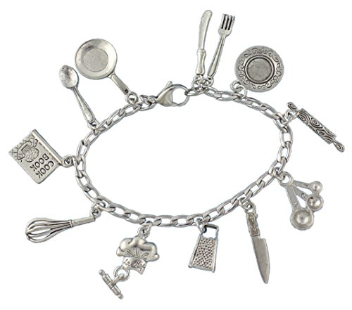 Night Owl Jewelry Chef Charm Bracelet- Pewter Cooking and Baking Themed Charms on Stainless Steel Chain - Size S (7 Inches (Small))