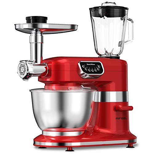 Aifeel Stand Mixer 800W, 7QT Bowl , 8 in 1 Multifunctional Kitchen Mixer with Dough Hook, Whisk, Beater, Meat Grinder, Blender etc,5-Speed with LED Key(Retro Red)