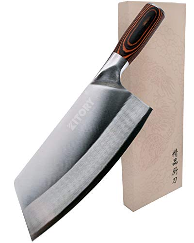 KITORY Vegetable Cleaver Knife 7'' Chinese Chef Knife – High Carbon German Steel Blade with Pakkawood Handle, Vegetable Meat Cleaver Knife with case, Anti-rust Kitchen Knife for Cooking