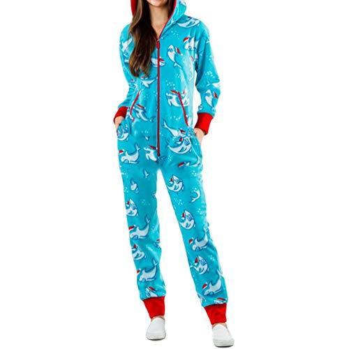 Xegood Pijamas una Pieza Familiares de Navidad,Pijama en Tejido Franela Polar Suave y cómodo para Toda la Familia,Excelente para Invierno Delfín 2#