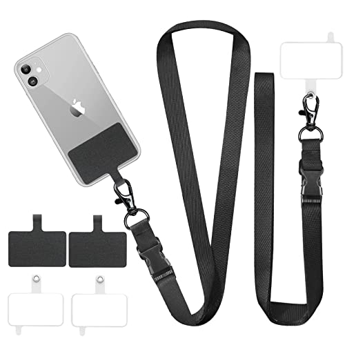 ROCONTRIP 2 Packs Phone Lanyard Cross Body Phone Strap Cell Phone Charms with 2 Pcs Lanyard, 4 Pcs Phone Patch Adjustable Shoulder Neck Strap (Black)