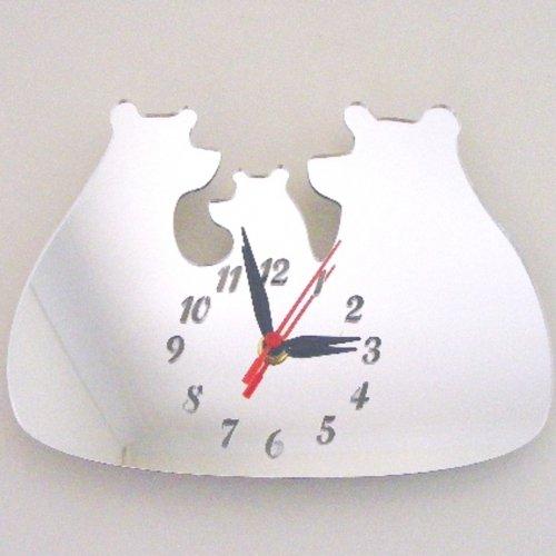 Super Cool Creations 35 x 30 cm Acrylique Trois Ours Miroir Horloge, Argent