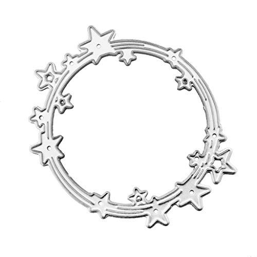 Wrubxvcd De Découpe,Dies Decoupe Scrapbooking,Cercle D'étoile, Découpage en Métal Pochoir Scrapbooking,7x5.8CM
